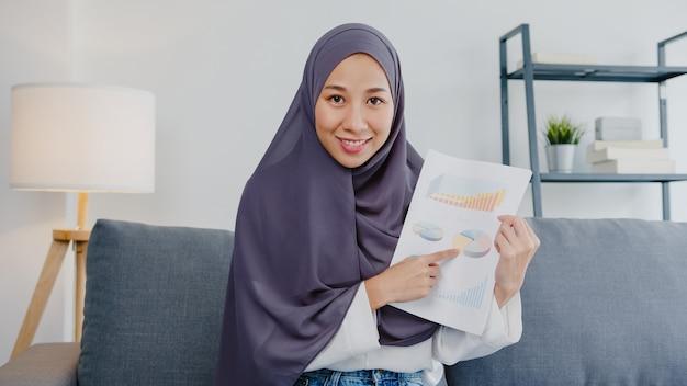 アジアのイスラム教徒の女性がヒジャーブを着用し、コンピューターのラップトップを使用して、自宅の居間でリモートで作業しているときに、ビデオ通話会議での販売レポートについて同僚に話します。社会的距離、コロナウイルスの検疫。