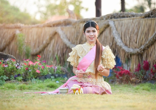 Asia woman thai style dress portrait of beautiful young girl smiling thailand