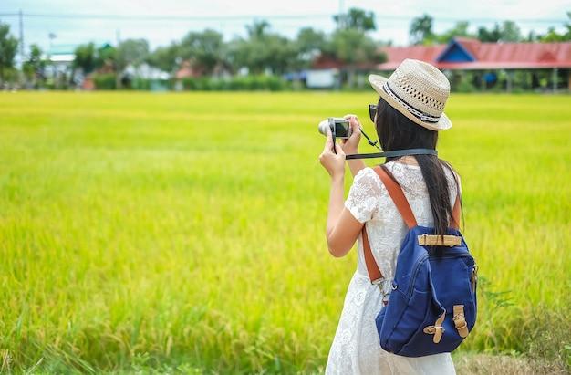 Asia woman tourist standing and take photo rice farm.