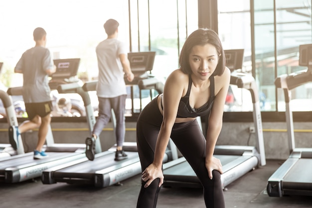 Asia women exercise in gym