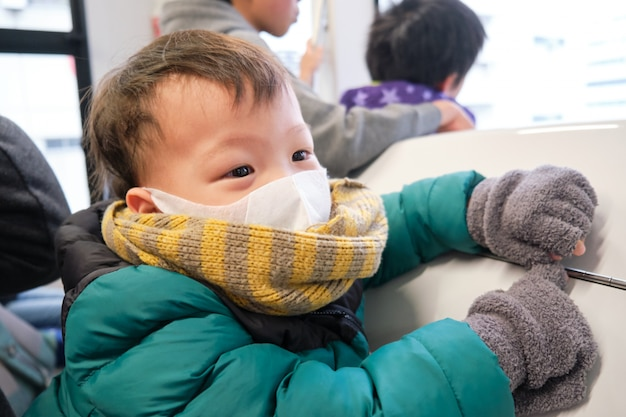 Asian 2 -3 years old toddler baby boy child wearing protective medical mask in subway, metro, train in tokyo city, japan, little kids on public transit concept