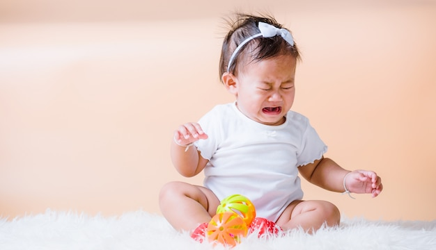 Asian baby sad cry