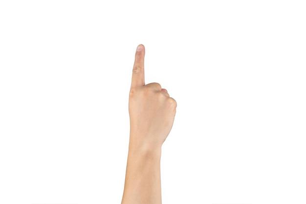 아시아 백핸드는 격리된 흰색 배경에 손가락에 1(하나) 기호를 표시하고 계산합니다. 클리핑 패스