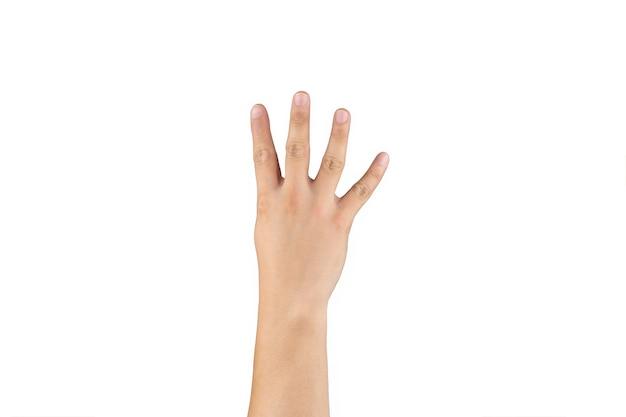 아시아 백핸드는 격리된 흰색 배경에 손가락에 4(4) 기호를 표시하고 계산합니다. 클리핑 패스