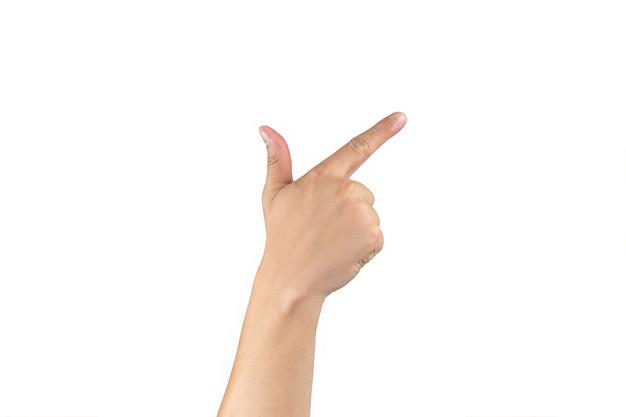 아시아 백핸드는 격리된 흰색 배경에 손가락에 7(7) 기호를 표시하고 계산합니다. 클리핑 패스