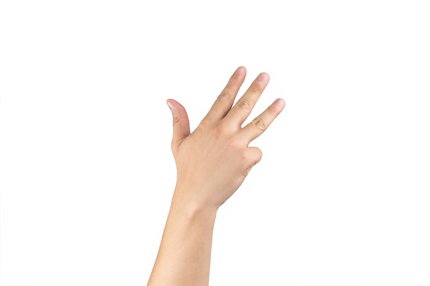 아시아 백핸드는 격리된 흰색 배경에 손가락에 9(9) 기호를 표시하고 계산합니다. 클리핑 패스