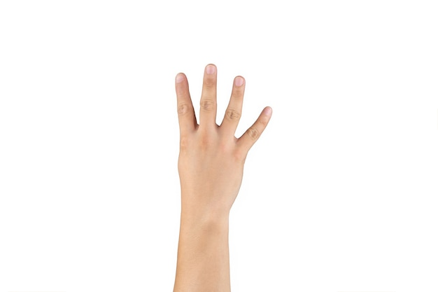Asian back hand shows and counts 4 (four) sign on finger on isolated white background. clipping path