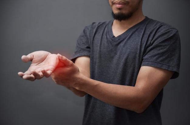 Asian beard man having wrist pain.