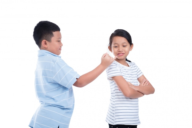 Asian boy ask a girl to reconcile over white background