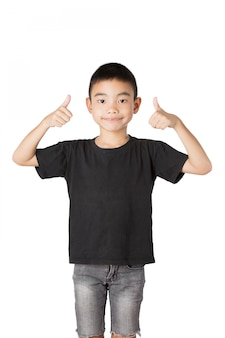 Asian boy of smile ,thumbs up on white background