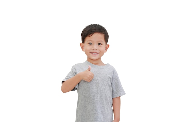 Asian boy thumb up gesture