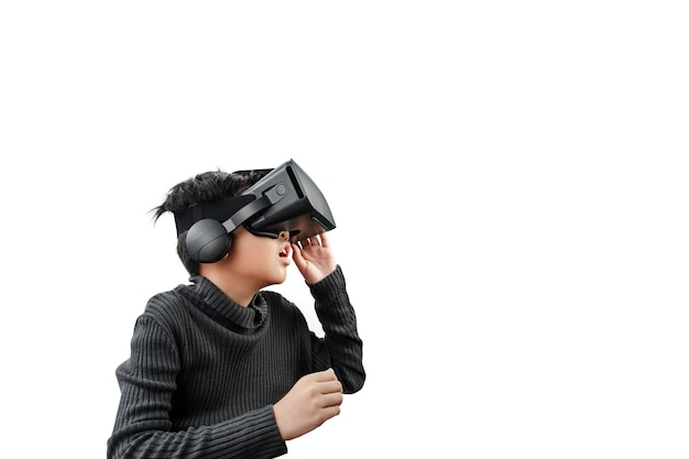 Asian boy wearing vr glasses headset isolated on white background.