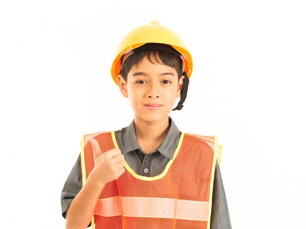 Asian boy with engineer and safety yellow hat on white background