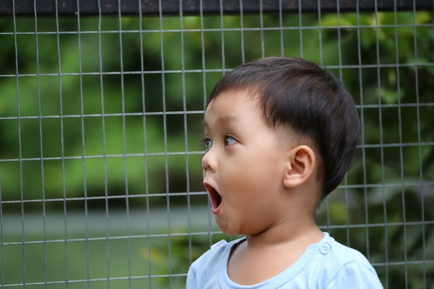 Asian boys was looking at the animals in the zoo with great interest and surprise