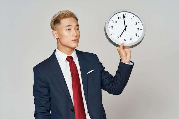 Asian business man posing with clock