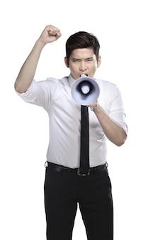 Asian business man shout on megaphone