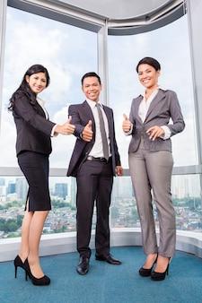 Asian business team meeting