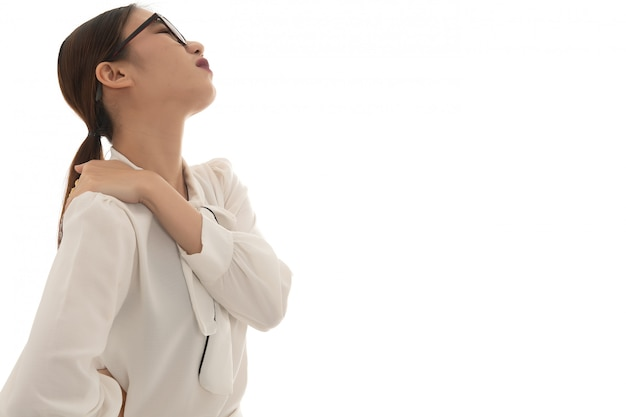 Asian business woman neck ache when working, use hand catch her neck pain from hard working long time on white