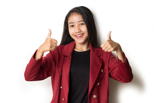 Asian business woman with hand thumbs up okay