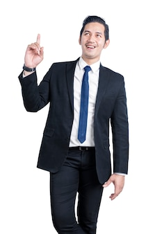 Asian businessman pointing something