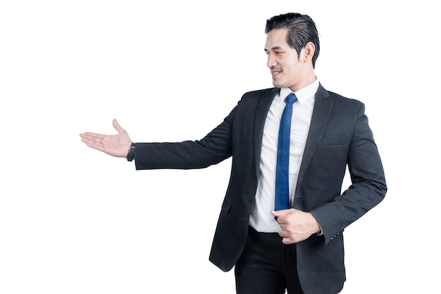 Asian businessman showing empty hand