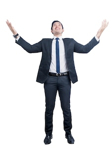 Asian businessman standing and raised hand