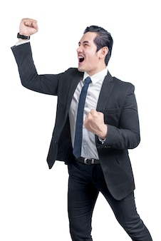 Asian businessman standing with successful expression
