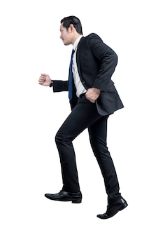 Asian businessman with a running expression