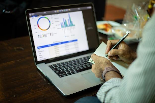 コーヒーショップでコンピューターラボトップを使用して作業およびデータ分析を行うアジアのビジネスマン