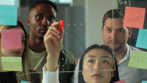 アジアの実業家がステッカーでガラスの壁にグラフを描く若いビジネスチームのブレーンストーミングの同僚がビジネスの成功の概念を承認する