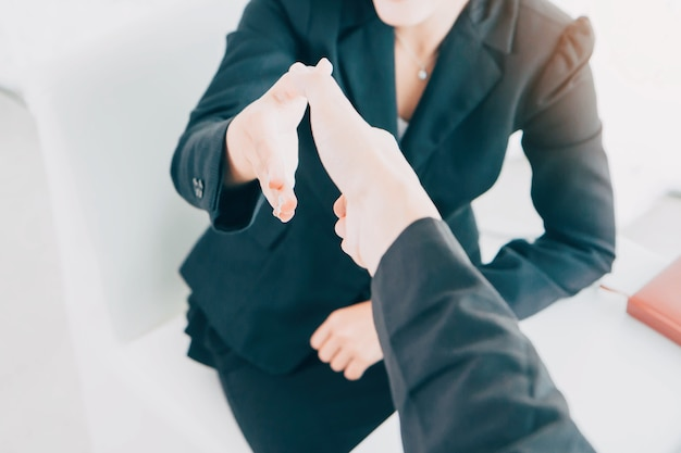 Asian businesswoman making handshake with a businessman - greeting and dealing concepts