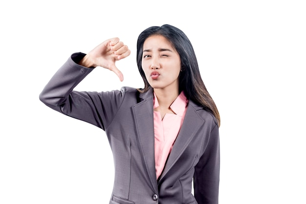 Asian businesswoman showing thumb down gesture