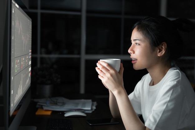 Asian businesswoman trader looking and drink coffee with graphs analysis candle line on table in night office, diagrams on screen. stock exchange market concept