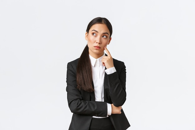 Asian businesswoman on white background.