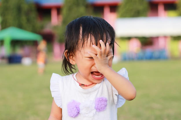 Asian child girl crying when she playing with the toy at the playground.