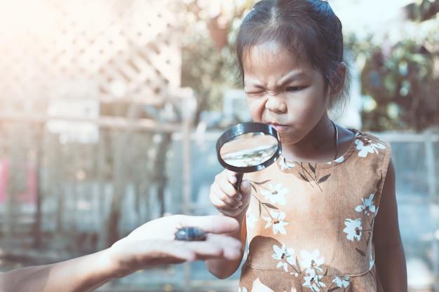 Азиатская девочка-девочка использует увеличительное стекло и узнает о личинках жука-носорога