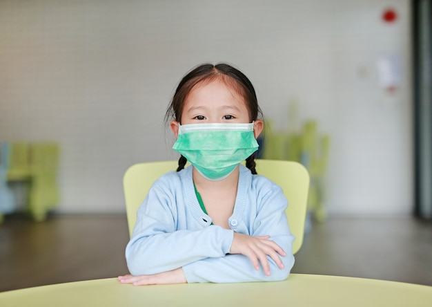 Asian child girl wearing a protective mask sitting on kid chair in children room.