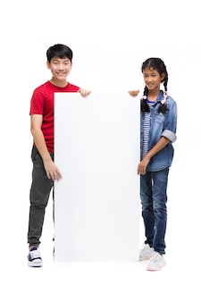 Asian children holds blank sign