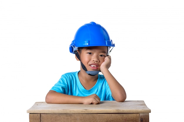Asian children wearing safety helmet and smiling isolated on white