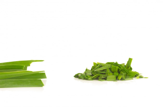 Asian chives (leek) (chopped) isolated on white background