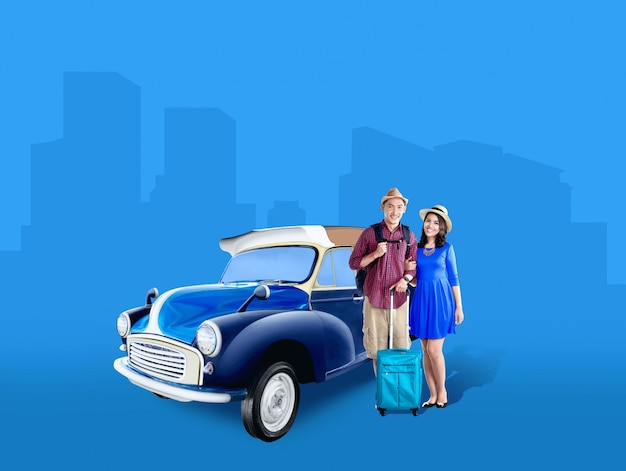 Asian couple in hat with suitcase bag and backpack standing beside the car