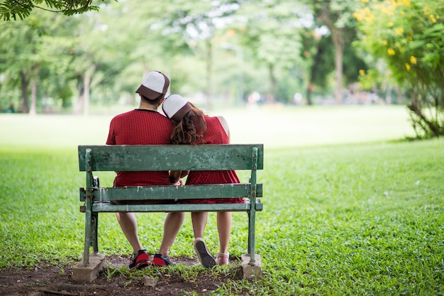 Asian couple pre wedding vintage and street style outdoor park photo