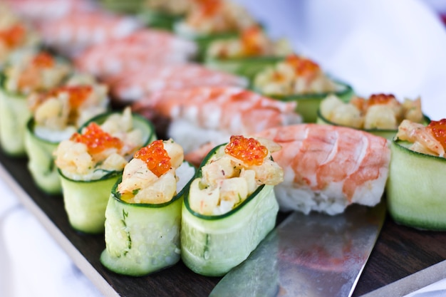 Asian cuisine. sushi, rolls and sashimi in restaurant