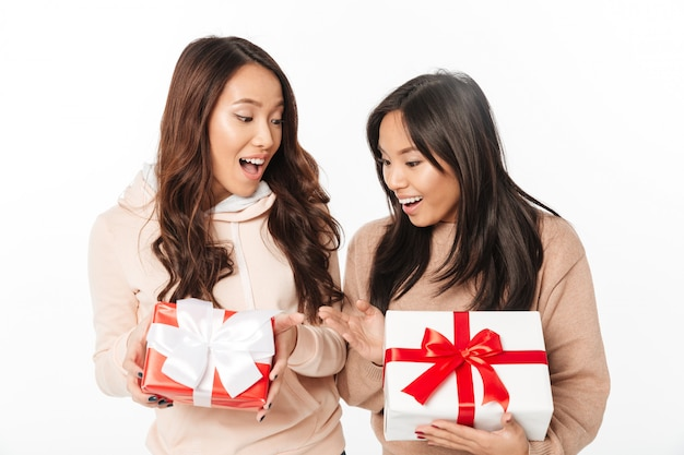 Asian cute ladies sisters standing isolated
