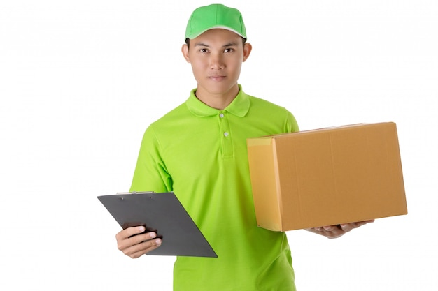 Asian delivery man carry brown parcel or cardboard boxes isolated on white