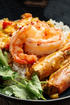 手長海老とひかりごはんのアジア料理カレー