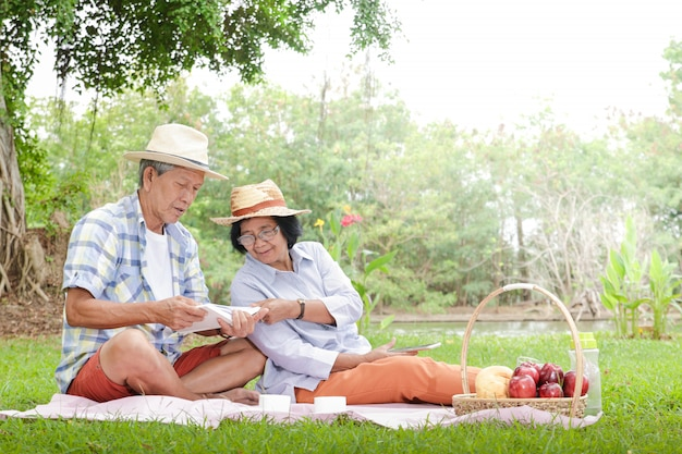 Asian elderly couple having a picnic in the park