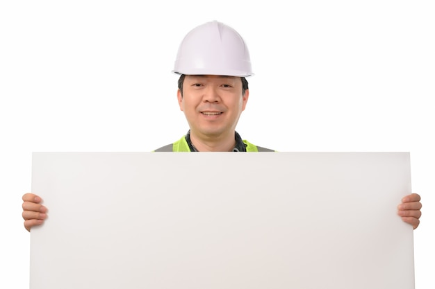 An asian engineer holding a blank message board.