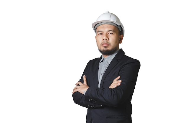 Asian engineering man wears black suit crosse arm white hardhat isolated on white background. foreman control construction. clipping path.