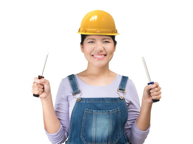 Asian engineering woman wearing safety helmet and jumpsuit